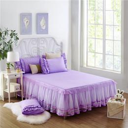 Wholesale King Size Bedding Korean - Wholesale- SunnyRain 3-Pieces Solid Color Lacework Korean Bedding Set King Size Queen Bed Set Bed Sheet With Elastic Pillow Case sabanas