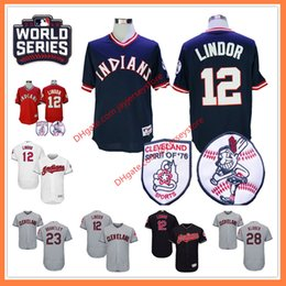 Wholesale Indian Series - 2016 World Series Patch Francisco Lindor Jersey 12# Cleveland Indians Jerseys Jason Kipnis Michael Brantley Corey Kluber Edwin Encarnacion