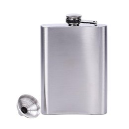 Wholesale Wholesale Liquor Free Shipping - Wholesale- New 4 5 6 7 8 10 18 oz Stainless Steel Hip Liquor Whiskey Vodka Alcohol Flask Cap + Funnel Hip Flask Free Shipping
