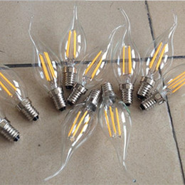 Wholesale Led Candelabra E12 Dimmable - 6Pcs E12 E14 E26 Dimmable 2 4 6W Vintage LED Filament Candelabra Bulbs 110lm w 2700K 110V 220V C35 Bullet Top C35T Bent Tip