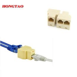 Wholesale Socket Lan - Wholesale- RJ-45 SOCKET RJ45 Splitter Connector CAT5 CAT6 LAN Ethernet Splitter Adapter 8P8C Network modular plug PC laptop cable contact