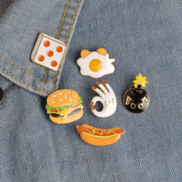 Wholesale Hot Dog Hat - Fast Food Brooch Set Pizza Hamburgers Hot Dogs Poached Eggs Dice Bombs Enamel Pin Hat Shirt Collar Bag Chain Brooches Holiday Gift