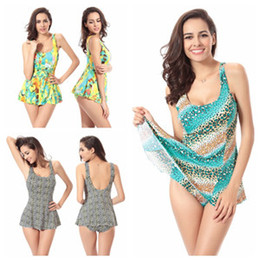 Wholesale Swimwear Three - Women Swimwear One-Piece Swimsuit Floral Conservative Beach Dresses Three Colors Halter Widening Thickening Quick-drying High Elasticity