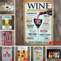 Wholesale Metal Craft Wine - Sign Painting Wine Beer Vintage Craft Tin Sign Retro Metal Painting Antique Iron Wall Poster Bar Pub Signs Wall Art Sticker 20x30CM Room