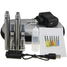 Wholesale Electronic Cigarette Double Pack - Black&Silver Electronic Cigarettes EGO-T 650 900 1100mAh Battery E-cig Double Starter E-cigarettes Kits 1.6ML Atomizers Zipper Box Packing