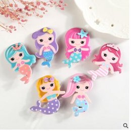 Wholesale Cute Hair Clips For Babies - Mermaid cartoon hair clips barrettes for baby kids cute acrylic hairpin christmas gift party birthday gifts