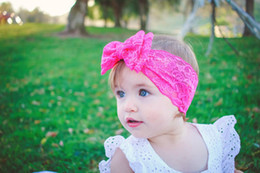 Wholesale Kids Hair Color Sticks - Baby Hair Accessories Toddler Cute Girl Kids Bow Hairband Turban Headband Headwear Lace Hairband Candy Color