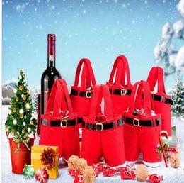 Wholesale Santa Pants Candy Bags - Christmas candy Sack Santa Pants Stocking trousers Candy Gift Bag Christmas Sack Bags Wedding Party candy bag KKA2295