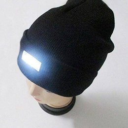 Wholesale Blue Illuminated - Wholesale- New 5 LED Light Beanies Winter Warm Knitted Woolen Outdoor Sports Hiking Skiing Caps Men Women Unisex Illuminated Hat