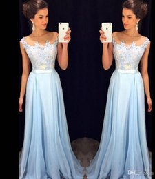 Wholesale Cheap Fast Hunter Green Dresses - Cheap Fast Shipping Long Bridesmaid Dresses 2017 Illusion Sheer Scoop Cap Sleeves Applique Light Blue Country Women Dress Gowns Custom Made