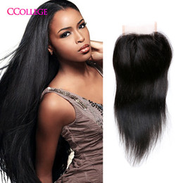 Wholesale Brazilian Knots - Cheap Brazilian Peruvian Malaysian Virgin Hair Closure 4*4 Brazilian Straight Lace Closure Free Middle Part Human Hair Closure Bleached Knot