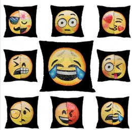 Wholesale Car Neck Cushion Pillow Covers - 40*40cm Sequin Emoji Pillow Case Double Sided Change Color Face Expression Pillow Covers Home Sofa Car Decor Cushion Sofa Decor