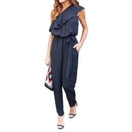 Wholesale Looses Casual Chiffon Long Pants - Chiffon Rompers Womens Jumpsuit Beautiful Ruffles Sigle Shoulder Overalls Women'S Long Pants Loose Casual Ladies Summer Romper