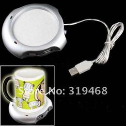 Wholesale Tea Cup Warmer Electric - 400pcs lot RA New 4 Port USB Hub Tea Coffee Beverage Electric Cup Mug Warmer Heater Pad for PC Laptop Free Shipping 0001