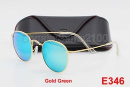 Wholesale Rounded Mirror - 1pcs High Quality Fashion Round Sunglasses Designer Brand Sun Glasses Gold Metal Green Mirror 50mm Glass Lenses For Men Women With Box Case