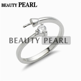 Wholesale Pearl Sterling - 5 Pieces Wholesale Simple Ring Design Jewelry Findings Zircon 925 Sterling Silver Pearls DIY Ring Mount