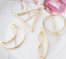 2017 pinces à cheveux rondes 2017 New Brand Hairpins Triangle Moon Hair Pin Bijoux Lip Round Clip de cheveux pour femmes Barrettes Head Accessories pinces à cheveux rondes sur la vente