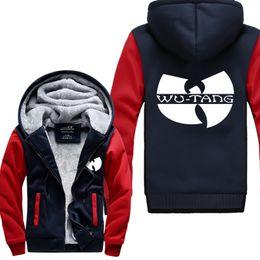 wu tang hoodies Desconto Atacado-WU TANG hip hop skate streetwear impresso homens Hoodies 2016Manga engrossar velo Zipper Tops EUA tamanho da UE Plus Size