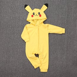 Wholesale Boy Short Sleeve Hooded - New Baby Romper Infant Baby Poke Go Poke Go Romper Outfit Long Sleeve Jumpsuit Playsuit 0-