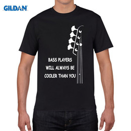 Wholesale Double Neck Electric Guitar Bass - New Summer Style Bass Guitar Players Are Cool T-shirt Funny Double Rhythm Electric T Shirt Men Short Sleeve Top Tees