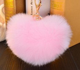 Wholesale Key Holder Bag For Men - 12cm Rabbit Fur Ball Keychain fluffy keychain fur pom pom llaveros portachiavi porte clef Key Ring Key Chain For Bag accessories cc819
