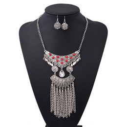 Wholesale Wholesale Big Pendants For Earrings - Vintage Water Drop Shape Big Necklace Resin Beads Tassel Necklaces Turkish Jewelry Long Pendant Necklace Earrings Set For Women