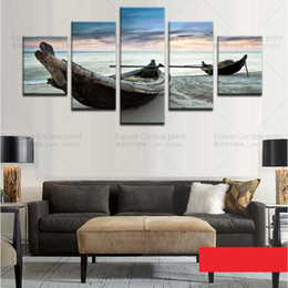 Wholesale Ocean Painting Piece - Drop Shipping Unframed 5 Piece The Ocean Ship Seascape Modern Home Wall Decor Canvas Picture Art HD Print Painting On Canvas For Home Decor