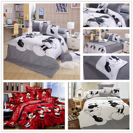 Wholesale Minnie Mouse Bedding Full - Wholesale- cute red black mickey minnie mouse bedding set queen king size for girls children's boys home decor cotton bed duvet cover sheet