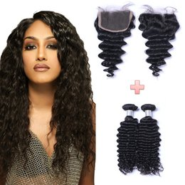 Wholesale Good 4x4 - Resika Hair Good Quality Peruvian Deep Wave Virgin Hair 4x4 Lace Closure with 2 Bundles Real Human Hair Weft Extensions Natural Color