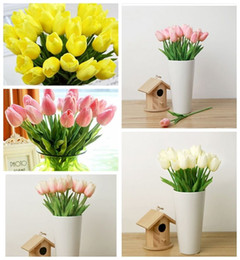 Wholesale Tulips Fake Flowers - 20Pcs Artifical Real Touch PU Tulips Flower Single Stem Bouquet Fake Flowers Wedding Room Home Decor