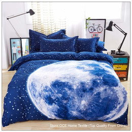 Wholesale Thick Cotton Sheets - Wholesale-Thick 3D bedding set King size,bed set,duvet cover set with bed sheet ,bedclothes Moon Star Galaxy space nasa&45