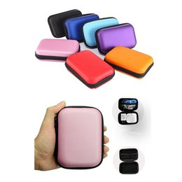 Wholesale Earbud Cases - Colorful Headphone Storage Carrying Bag Rectangle Zipper Earpphone Earbud EVA Case Cover For USB Cable Key Coin Free DHL