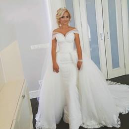 Wholesale Tulle Removable Skirt Wedding Dress - Elegant Bride Gowns Off Shoulder Lace Detachable Skirt Wedding Dress Removable Skirt Gowns mariage vestidos de novia robe de mariee