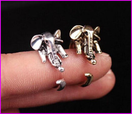 Wholesale Men Elephant Ring - B121 2017 New Personality exaggerated European and American punk wind animal ring elephant opening ring for men women