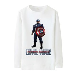 Wholesale Silk Printed Fabric Clothing - Autumn And Winter Captain America Series Clothing Print O-Neck Pullover Long Sleeve Sweater Soft Milk Silk Fabric Sweater