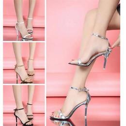 Wholesale Vogue Tie - Hot Sale Vogue 4 Color Woman Summer Shoes Supermodel T-stage Classic Dancing High Heel Sandals Sexy Stiletto Party Wedding Shoes