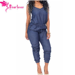Wholesale Women S Denim Overalls - Wholesale- Dear Lover Overalls Women Stylish 2016 Playsuits Blue Stylish Womens Sleeveless Denim Jumpsuit Macacao Feminino Comprido LC64062
