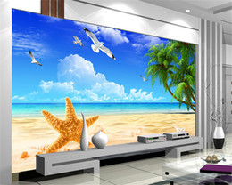 Wholesale Chinese Photography Background - Custom Beach Scenery Starfish Blue Sky 3D Photo Background Computer Printed Living Room TV Photography Backdrop Mural Wallpaper