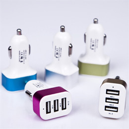 Wholesale Iphone For Sale Uk - Hot Sale 2 3 USB Ports Aluminum Metal Car Chargers Vehicle Charger 1.1A 5V For iphone Samsung Smartphones