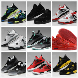 best toro bravo basketball shoes  - Wholesale Air Retro 4 Retro 4s Bred TORO BRAVO Fire Red Black Red Men Women Basketball Shoes sneakers 9 Color Top quality