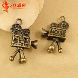 Wholesale Retro Projector - 26*16*6MM Antique Bronze Vintage Retro jewelry wholesale movie projector charm pendant beads manual, DIY film charm for necklace