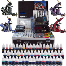 Wholesale Tattoo Grips Tips Kits - Complete Top Tattoo Kits 4 Machine Guns 40 Color Inks Sets Tattoo Power Supply 50 Pcs Tattoo Needles Grip Tip