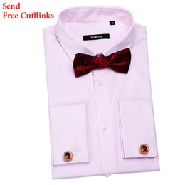 Wholesale French Cuff Clothing - Wholesale- Formal Business Mens Dress Shirts With Cufflinks French Cuff Shirts Long Sleeve Autumn Shirt Brand Clothing Camisas Masculina