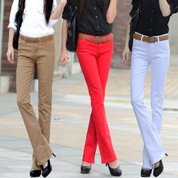 Wholesale Elastic Female Long Boots - Wholesale- free shipping long pant candy color elastic jeans female trousers slim boot cut casual pants women
