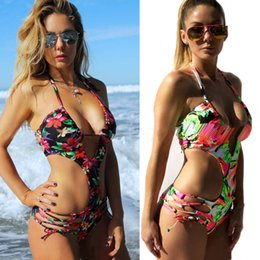 7a986822d8a66 Hollow Out One Piece Swimsuit For Women Deep V-neck Bandage Bathing Suit  Wire Free Padded Swimming Suit Brazilian Biquinis