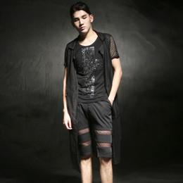 Wholesale Rock Vests For Men - Wholesale- 2016 Summer Hip hop Punk rock extra long vest jacket for men Sexy Black DJ Band Night club clothing