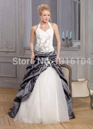 Wholesale Winter Grey Wedding Gowns - 2017 Cheap White And Grey Two Tone Colorful Wedding Dress With Color A-line Sweep Train Long Bubbles Taffeta Halter Bridal Gowns Non White