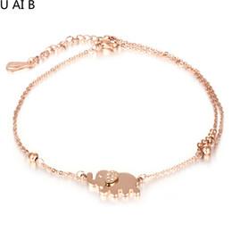 Wholesale Titanium Anklets - Rose gold color elephant anklets for women fashion jewellery fashion anklets foot women anklets accessories