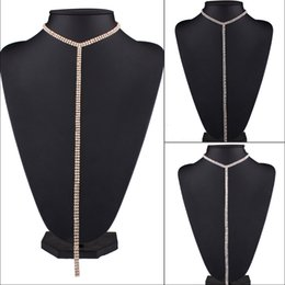 Wholesale Thanksgiving Sweaters Sale - hot sale Fashion jewelry European studded popular long sweater chain necklace luxury rhinestone diamond choker necklace