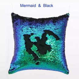 Wholesale Polyester Filled Pillows - Mermaid Sequins Pillow 40x40cm magic DIY cushion cover no filling Christmas home decor new hot selling